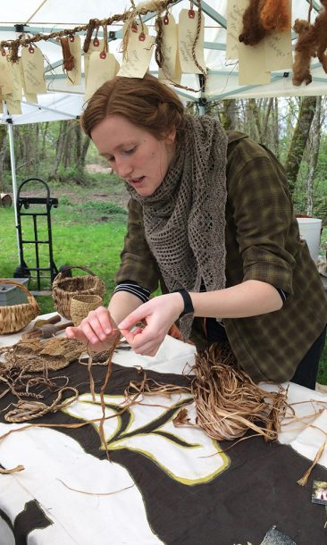 Members of the Earthand Gleaners Society make art pieces out of materials they find in nature. They were explaining how to do this to attendees at this year's Earth Day in Everett Crowley Park.