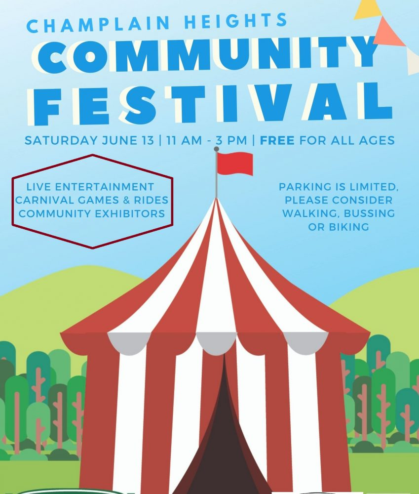 Community Festival Saturday June 13, 11am-3pm Free Live Entertainment Carnival Games & Rides Community Exhibitors Parking is Limited. Please consider walking, taking the bus or biking.