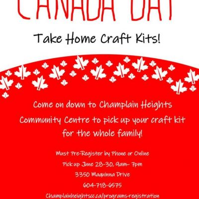 Canada Day Take Home Craft Kits! Come on down to Champlain HeightsCommunity Centre to pick up your craft kit for the whole family!Must Pre-Register by Phone or OnlinePick up June 28-30, 9am–7pm3350 Maquinna Drive604-718-6575Champlainheightscc.ca/programs-registrationProgram #354136 https://ca.apm.activecommunities.com/vancouver/Activity_Search/canada-day-activity-kit/351214 #canadaday #champlainheightscca #activechamplain #champlainheightscc