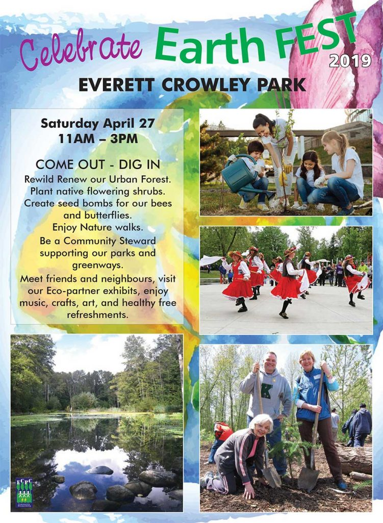 Saturday April 27 11AM – 3PM COME OUT - DIG IN Rewild Renew our Urban Forest. Plant native flowering shrubs. Create seed bombs for our bees and butterflies. Enjoy Nature walks. Be a Community Steward supporting our parks and greenways. Meet friends and neighbours, visit our Eco-partner exhibits, enjoy music, crafts, art, and healthy free refreshments.