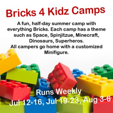 A fun, half-day summer camp with everything Bricks. Each camp has a theme such as Space, Spinjitzue, Minecraft, Dinosaurs, Superheros.All campers go home with a customized Minifigure.