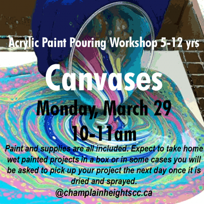 Acrylic Paint Pouring Workshop | Canvases (5-12 yrs) Monday March 29 10-11am Acrylic Pouring is a fascinating fluid painting technique, also known as fluid art. Acrylic pouring is a fun and creative way to make abstract art on all sorts of objects. We look at the basic techniques, like a dirty pour, and a simple pour as well as a list of acrylic pouring supplies. We will be mixing a paint medium into acrylic paints to create a flow, adding a few drops of silicone will create beautiful cells throughout your paintings. Paint and supplies are all included. Expect to take home wet painted projects in a box or in some cases you will be asked to pick up your project the next day once it is dried and sprayed. For more information please contact me at pixeydixey41@yahoo.com. https://ca.apm.activecommunities.com/vancouver/Activity_Search/321481 #activechamplain #champlainheightscc #kidsarts #springbreak